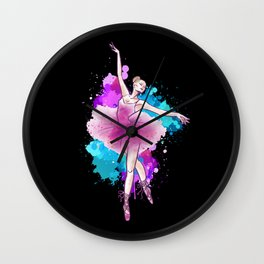 Ballet Dancing Girl Colorful Ballerina Wall Clock