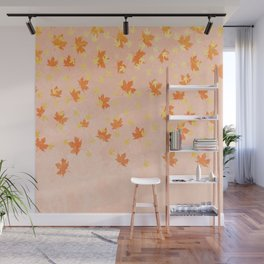 My favourite colour: Gold OCTOBER - Indian Summer - Rose Gold autumnal leaves Wall Mural