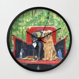 Antique Truck with Dogs Wall Clock
