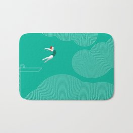 diver girl jumping into the clouds Bath Mat