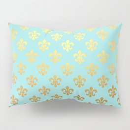Royal gold ornaments on aqua turquoise background Pillow Sham