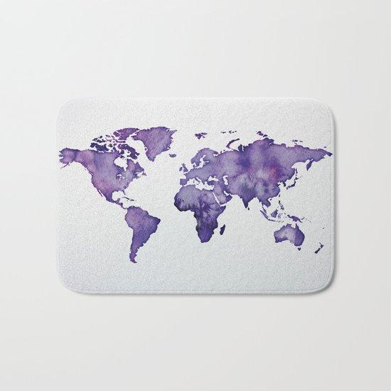Purple World Map 01 Bath Mat