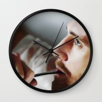 tom hiddleston Wall Clocks featuring Tom Hiddleston by Kate Dunn