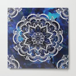 Queen Starring of Mandalas Navy Metal Print