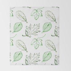Leaves (greens) Throw Blanket