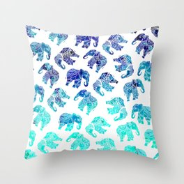 Boho turquoise blue ombre watercolor hand drawn mandala elephants pattern Throw Pillow