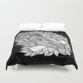 Zentangle Halcyon Black and White Illustration Duvet Cover