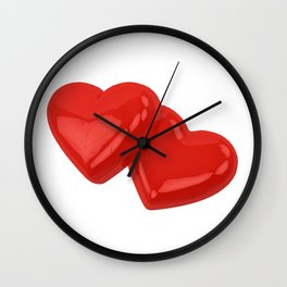 Two red hearts Wall Clock