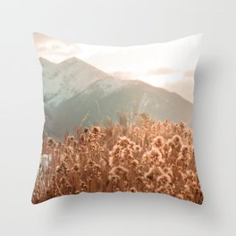 Golden Wheat Mountain // Yellow Heads of Grain Blurry Scenic Peak Throw Pillow