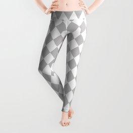 Grey Fog Modern Diamond Pattern on White Leggings