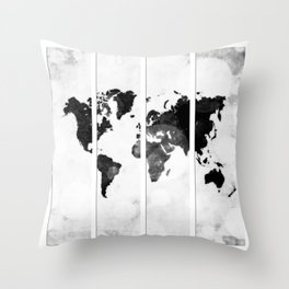 World map in pieces Throw Pillow