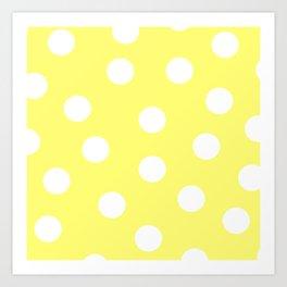 Polka Dots - Lemon and White Art Print