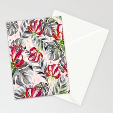 Tropical plants pattern and watercolor flowers Stationery Cards