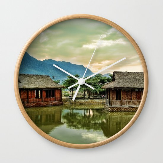 Water Huts Wall Clock
