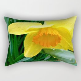 Natures Tears Of Joy On The Daffodil Rectangular Pillow
