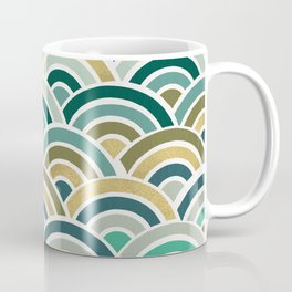 Japanese Seigaiha Wave – Mint & Gold Coffee Mug