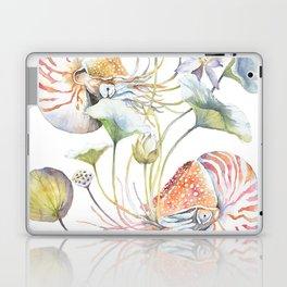 Nautilus and Lotus Surreal Watercolor Sea Animal Botanical Design Laptop & iPad Skin