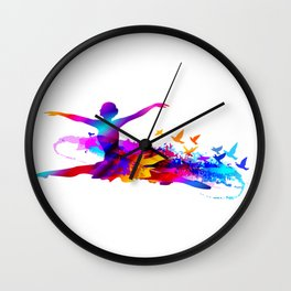 Colorful ballet dancer with flying birds Wall Clock