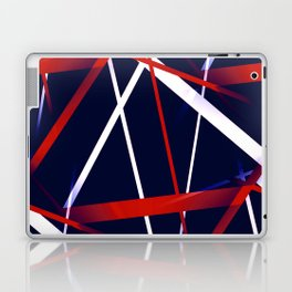 Seamless Red and White Stripes on A Blue Background Laptop & iPad Skin