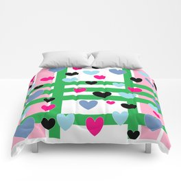 Hearts and Stripes - Pink Green Blue Comforters