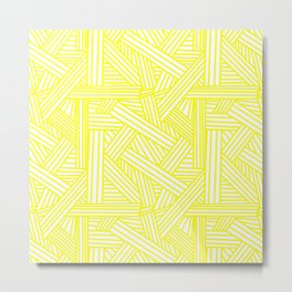Sketchy Abstract (Yellow & White Pattern) Metal Print