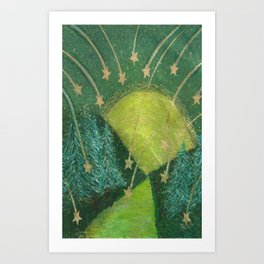 The Moon and Shooting Stars note cards and iPhone skins. Art Print
