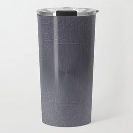 Cool Brushed Metal with a Stamped Design Travel Mug