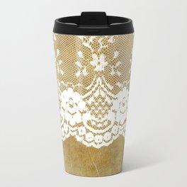 The elegant lady- White luxury foral lace on grunge backround Travel Mug