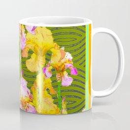 Avocado Green Pink-Yellow Yris Pattern Coffee Mug