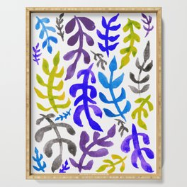 Matisse Inspired Watercolor Pattern (Blue, Green, Purple, Violet, and Gray) Serving Tray