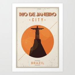 Rio de Janeiro City Retro Poster Art Print
