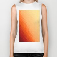 orange pattern Biker Tanks featuring Orange Ombre by Simply Chic