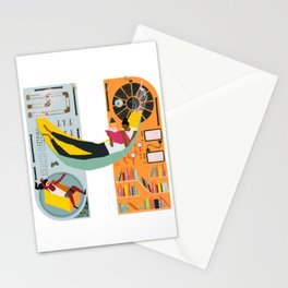 Reading on a spaceship Stationery Cards