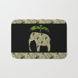 Elephant under a palm tree . Bath Mat