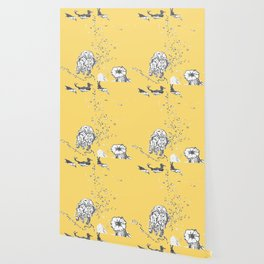 Two Tailed Duck and Jellyfish Pale Yellow Mellow Wallpaper