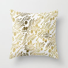 Gold Olive Branches Throw Pillow