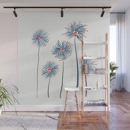Five Fuzzy Flowers Wall Mural