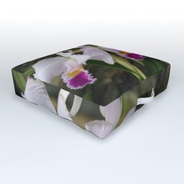Tropical Flowers Orchids Outdoor Floor Cushion