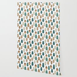 cute pattern illustration with acorns and autumn oak leaves Wallpaper