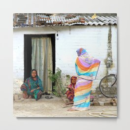 Tradional ladies in front of their house, India | Fine art travel photography Metal Print