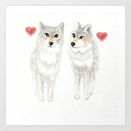WOLVES IN LOVE / WOLF VALENTINE / WOLF PACK / WOLF LOVE Art Print