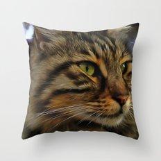Aslan The Long Haired Tabby Cat Throw Pillow