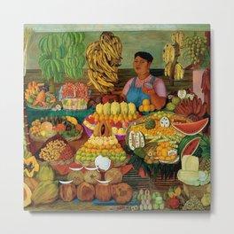 Las vendedoras de frutas by O. Costa Metal Print