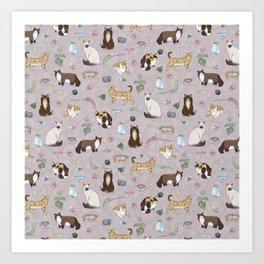 Cute Realistic Cats Design- Brown & White Kitty Pattern 1 Art Print