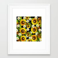 sunflowers Framed Art Prints featuring Sunflowers by Saundra Myles