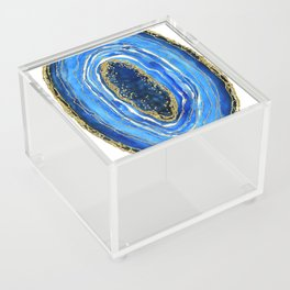Cobalt blue and gold geode in watercolor Acrylic Box