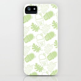 Hand painted mint green floral cactus tropical leaves typo iPhone Case