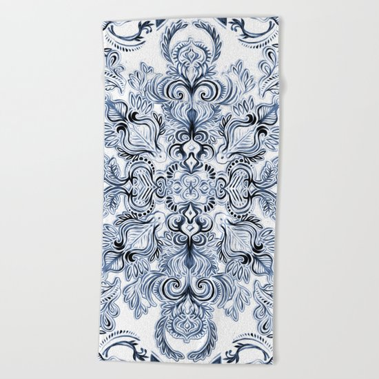 Indigo, Navy Blue and White Calligraphy Doodle Pattern Beach Towel