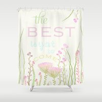 be happy Shower Curtains featuring HaPPy by Monika Strigel