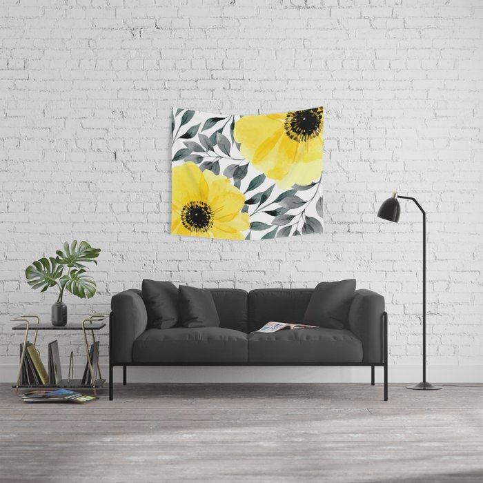 Big yellow watercolor flowers Wall Tapestry